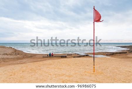 sand beach of Dead Sea coast in Jordan