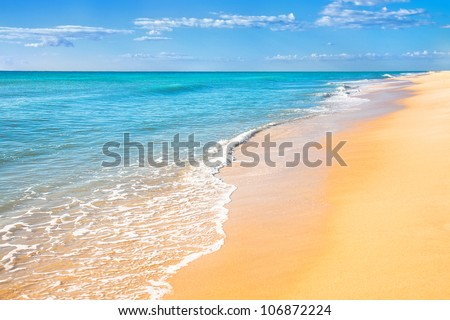 Sand beach with surf water background #106872224