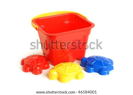 Sand-box toys on white background