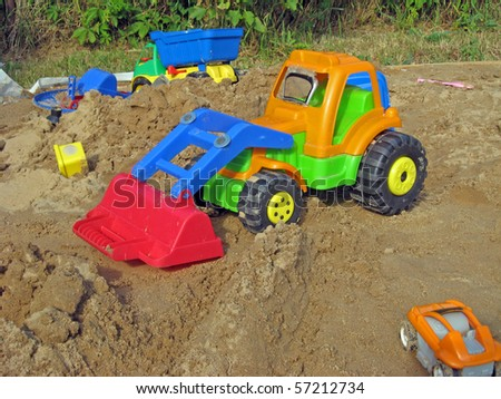 Sand box with toys, for small kid