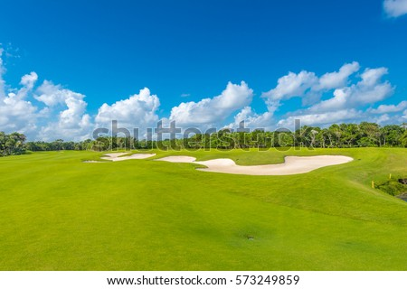 Sand bunkers at the beautiful golf course. #573249859