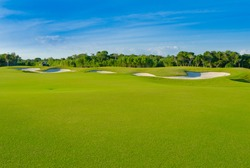 Sand bunkers on the golf course. Mexican resort. Bahia Principe, Riviera Maya.