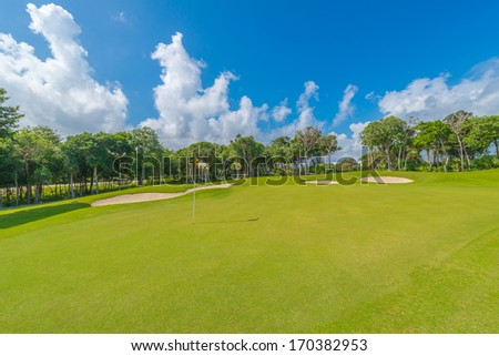 Sand bunkers on the golf course Mexican resort Bahia Principe Riviera Maya