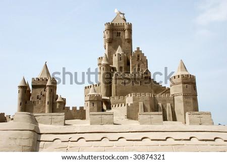 Sand castle at the beach in Scheveningen