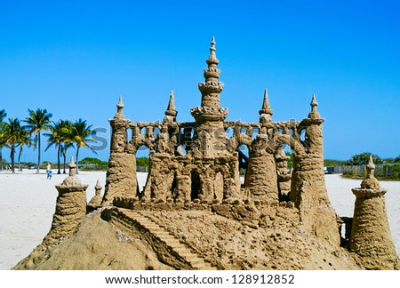 Sand castle on the beach