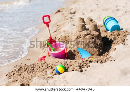 sand castle on the beach built by a child