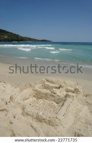 Sand castle on the Golden Beach Thassos Greece