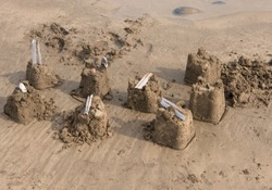 Sand Castles on Westwood Ho Beach on the South West Coast path in Devon, England, UK
