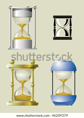 Sand clock in different styles. Vector version is available.