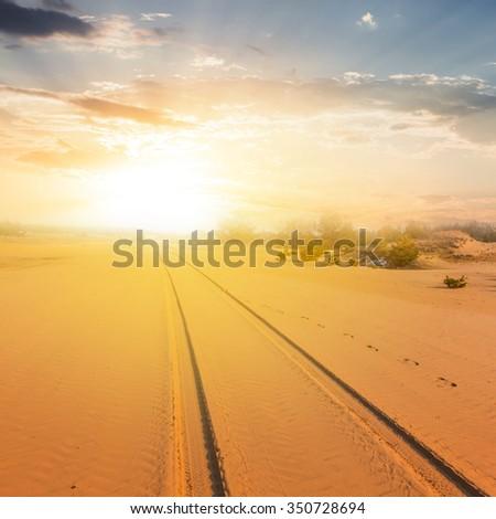 sand desert landscape at the sunset #350728694