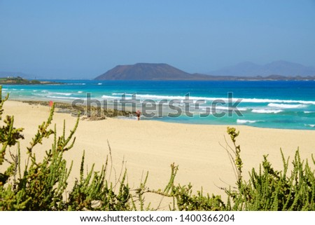 Sand Dunes and beach in National Park Corralejo, Fuerteventura, Canary Islands, Spain. #1400366204