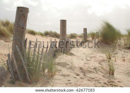 Sand dunes and bleached fence posts at Dugort Beach, Achill Island, Ireland