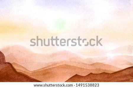 Sand dunes. Hand-drawn watercolor desert. Landscape illustration, sunset, fields, hills.