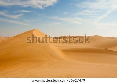 Sand dunes in the desert near Dubai