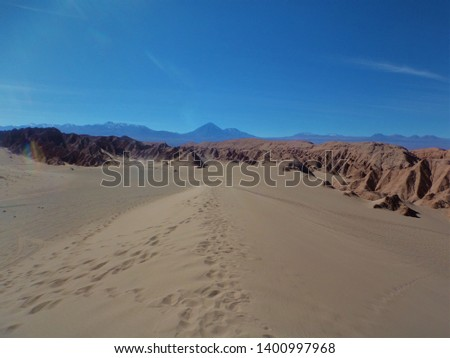 Sand dunes in the middle of the salt desert, chile #1400997968