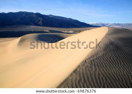 Sand Dunes near Stovepipe Wells in Death Valley California.