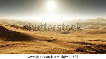 Sand dunes on Mars. Sunset on Mars. Martian landscape with sand dunes. 3D rendering