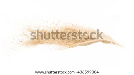 Sand  explode on white background ,stop motion