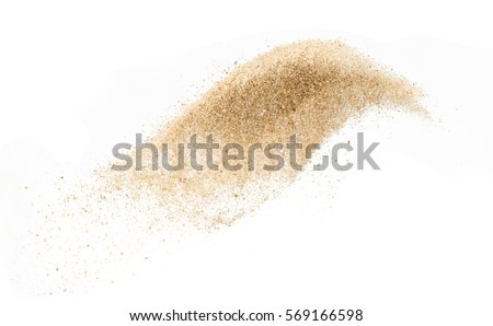 Sand  explode on white background ,throwing freeze stop motion object design #569166598