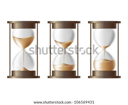 Sand falling in the hourglass in three different states - stock photo