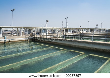sand filtration tank at water treatment plant