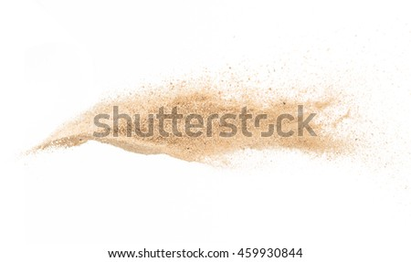 Sand flying explosion stop motion on white background  #459930844