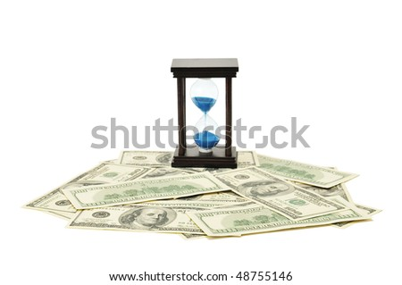 sand-glass and dollar. Concept - time is money