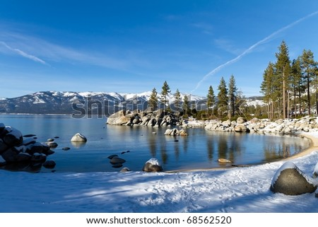 sand harbor during winter, lake tahoe usa - stock photo