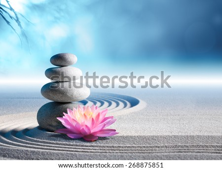 sand, lily and spa stones in zen garden  #268875851