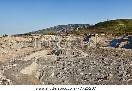 Sand quarry and the mountain