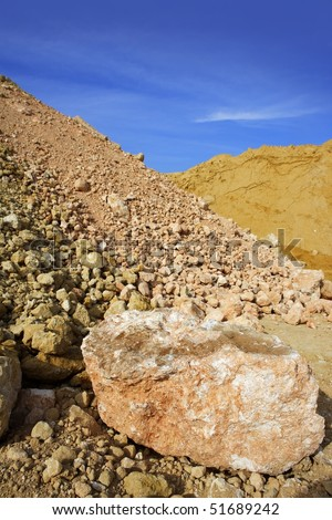 sand quarry mounds of varied construction sands color