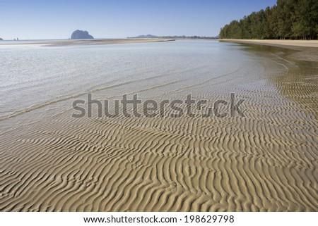 Sand ridges on Rajamangala beach, Trang Province, Thailand