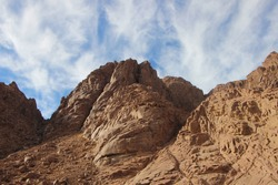 Sand rocks and majestic mountains in a delightful landscape in St. Catherine, Egypt