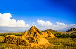 Sand ruins in a mountain valley. Sand ruins in Kazakhstan. Kazakhstan sand ruins in mountain valley