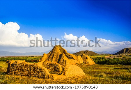 Sand ruins in a mountain valley. Sand ruins in Kazakhstan. Kazakhstan sand ruins in mountain valley Photo stock ©