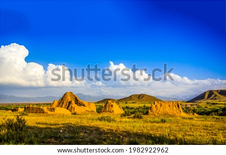 Sand ruins in the valley. Ruins in mountain valley. Mountain valley sand ruins Photo stock ©