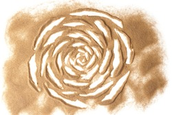 Sand sculptured rose isolated in white