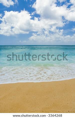 sand, sea, and sky on a beautiful hawaii beach