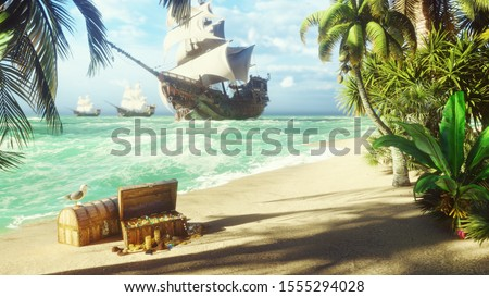 Sand, sea, sky, clouds, palm trees and a clear summer day. Pirate frigates docked near the island. Pirate island and chests of gold. 3D Rendering Photo stock ©