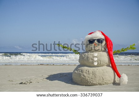 Sand Snowman Ready for Holiday Card. Use for Christmas, New Year's, Tropical Vacation or Holiday Card. #336739037