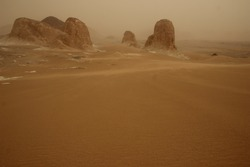 Sand Storm in White desert Egypt