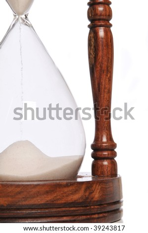 Sand Timer close up isolated on a white background