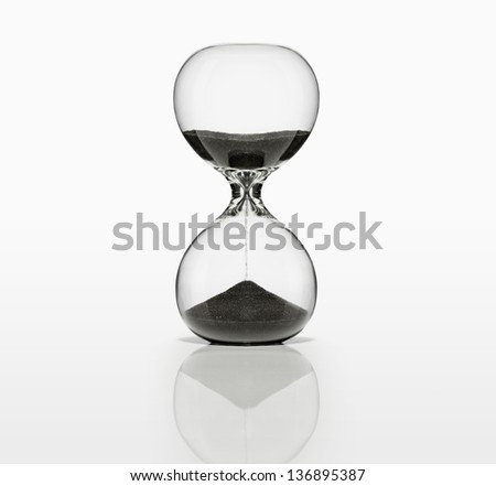 Sand Timer with black sand on white. With Clipping Path,