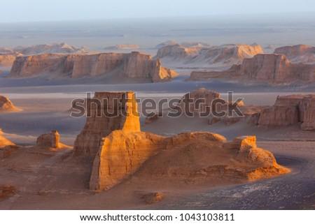 Sand towers of Kaluts in the Dasht-e-Lut desert. Iran  Stockfoto ©