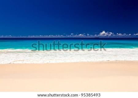 Sand tropical beach, The Indian Ocean,  Seychelles, LaDigue island