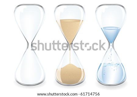 Sand, Water and Empty Clocks, Isolated On White