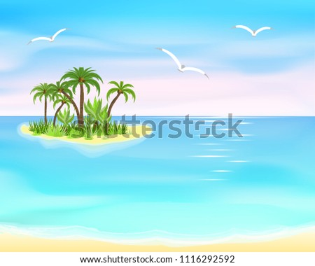 sand, wave, turquoise and blue sea, little island with palms on horizon, three seagull, cartoon  illustration