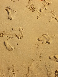 sand with footprints on the beach