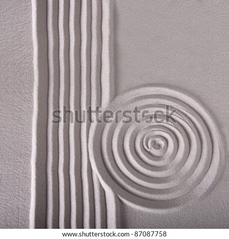 sand zen garden raked sand abstract for balance calmness spiritual and tranquil rippled pattern texture and  circle with lines background