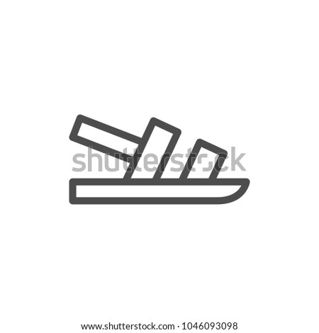 Sandal line icon isolated on white